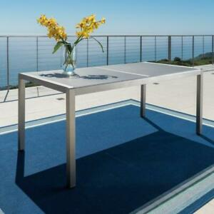 Cape Coral Outdoor Grey Aluminum Dining Table with Tempered Glass Top