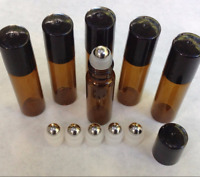 10pc Amber 5ml /10ml Glass Liquid  Bottles Steel Roller Essential Oils Lots