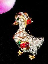 Dazzling Swarovski Swan 18k GP Crystal Rhinestone Enamel Mother Goose Brooch