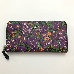 Coach * Accordion Zip Around Wallet Rose Meadow Floral Coated Canvas COD PayPal