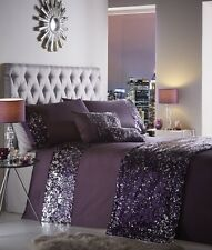 Dazzle Sparkly Sequin Duvet Cover and Pillowcase Bedding Set Polyester Purple