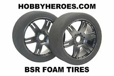 BSR FOAM 1/8 GT TIRES 25 SHORE SHORE MOUNTED ON BLACK SPOKE RIMS HHBSR25