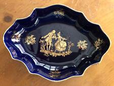 Limoges Cobalt Blue Gold Trim 7 1/2in Trinket Dish