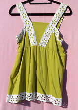 BNWT PRETTY GREEN STRAPPY SUMMER TOP BY TOMMY &KATE WITH LACY HEM/STRAPS SIZE 14