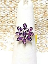 SIMULATED PURPLE DIAMOND STERLING SILVER FLORAL RING - SIZE 5 -- 2.85 CTW