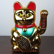 "Large Gold Maneki Neko Japanese Beckoning Fortune Money Lucky Cat 12"" New"