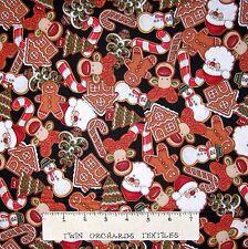 "Christmas Fabric - Holly Jolly Cookie Toss Black - RJR Dan Morris 26"""
