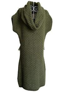 Next Women's Jumper Dress Size 14 Khaki Green Mix With Wool Short Sleeved