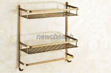 Bathroom Antique Brass Double Tier Shower Wasl Basket Shelf Tidy Caddy nba527