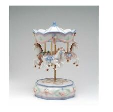 """COLLECTIBLE PORCELAIN MERRY-GO-AROUND , HORSES """"THE CAROUSEL WALTZ"""" MUSIC BOX"""