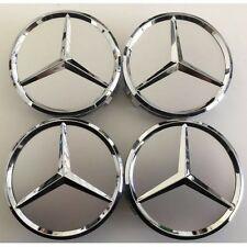 (SET OF 4) 75mm SILVER CHROME STAR WHEEL CENTER CAPS FOR MERCEDES A2WC501
