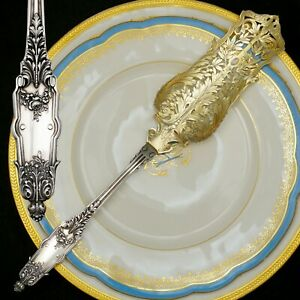 PUIFORCAT Antique French Sterling Silver Gold Vermeil Acanthus Pie Cake Server