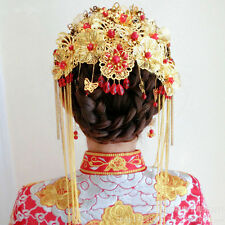 Bridal Chinese gold tone red bead dangle flower Hair comb Phoenix Crown HR441