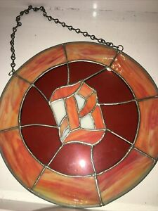 "Big 9"" tiffany style stained glass sun catcher ornament Initialed With letter B"