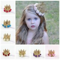 Hot Baby Kids Headband Gold Lace Flower Crown Hair band Princess Party Headwear