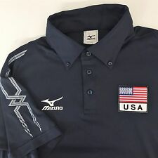 MIZUNO TEAM USA VOLLEYBALL SHIRT MEDIUM Blue Short Sleeved Athletic Comfort