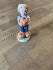 Vintage 1985 Denim Days Homco Danny Boy With Pumpkins— Autumn Decorations