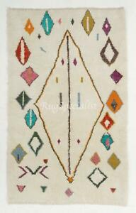 Contemporary Hand Knotted Moroccan Beni Ourain  Wool Rug