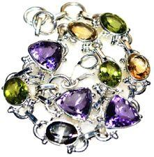 Multi Gemstone Sterling SILVER Bracelet, Unique Genuine Birthstone 925 Jewellery