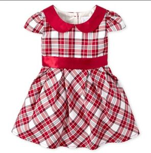 NWT Children's Place Very Merry Girls Red Plaid Christmas Holiday Party Dress