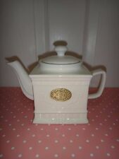 THL Square Porcelain Tea Pot White Gold Tone Plaque 5.5 inches (H) x 8.5 in (W)
