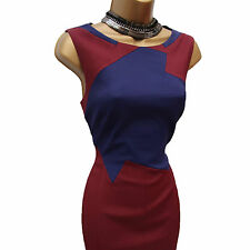 Karen Millen DT163 Maroon Blue Colour Block Wiggle Pencil Cocktail Dress 12 UK