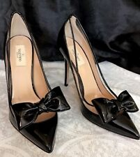 80c205ece0b Valentino Pump Black Patent With Pvc Bow On Pointed Toe NWT  895 Size 40 1