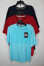 NEW Lot of 3 Nike DRIFIT running athletic gym shirts large Red Blue Navy #2557