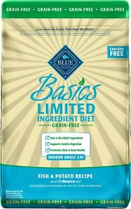 Blue Buffalo Basics Grain-Free Fish & Potato Indoor Adult Dry Cat Food 11 lb