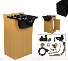 Black Ceramic Shampoo Bowl Sink Natural Oak Wood Cabinet Beauty Salon Equipment