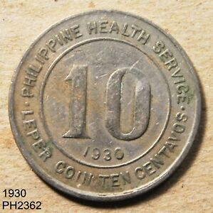 PHILIPPINES Culion Leper Colony 10 CENTAVOS 1930 Free Shipping in UNITED STATES
