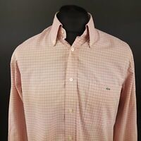 Lacoste Mens Vintage Shirt 42 (LARGE) Long Sleeve Pink Regular Fit Check Cotton