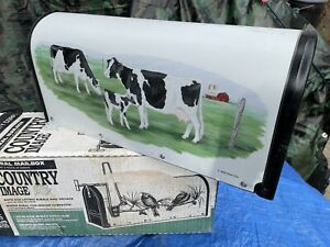 """""""Vintage Rural Mailbox"""" Steel City Corp U.S. Mail Dairy Cows Grazing Image Farm"""