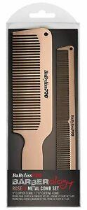 Babyliss PRO Metal Comb Set Hair Barber ROSEFX Clipper & Cutting Comb Rose Gold