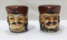 "Vintage Toby Mug Salt And Pepper Shakers Made In Japan 1 1/2"" Pirate Souvenir"
