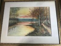 """H.T Turner 1919 """"River Landscape Scene"""" Watercolor Painting - Signed/Framed"""
