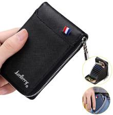 Men's Zipper Faux Leather Wallet Credit Card Holder Pocket Purse Coin Clutch