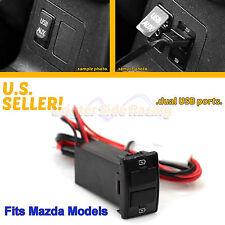 FITS MAZDA 3/5/6 TRIBUTE 2-PORTS 12V DC 2.0A USB POWER SOURCE PLUG DIRECT FIT