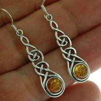 Celtic Long Silver Earrings, set w Baltic Amber, 925 Solid Sterling Silver, e297