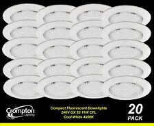 20 x Energy Saving Cool White Downlight Kits 240V 11W GX53 CFL 90mm cutout White