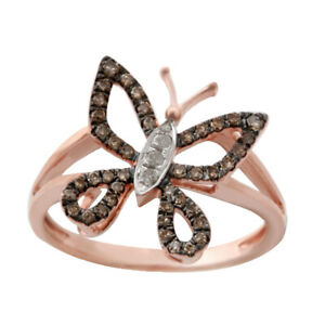Goldenstar 0.24 Ct. Brown & White Diamond Butterfly Ring