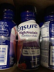 24 Ensure High Protein Nutritional Shake, 16g Protein, Strawberry 8 oz