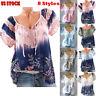 Fashion Womens V-Neck Loose Short Sleeve Tunic Top Boho Floral T-Shirt Blouse US
