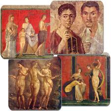 Pompeii Fresco Coasters Set Of 4 High Quality Cork Backed Roman Art Villa Gift