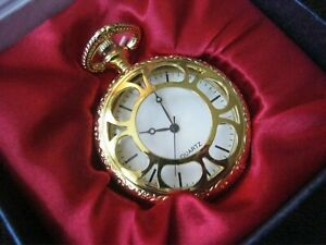 POCKET WATCH NEW IN DISPLAY BOX ~ GOLD FRONT WITH OPEN PATTERN (I)