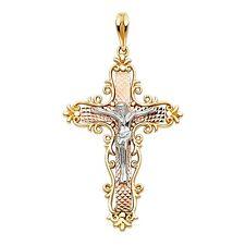14k Solid Tri-Color Rose Yellow & White Gold Cross Jesus Crucifix Charm Pendant