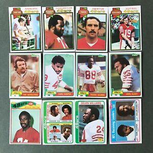 Lot 12 cartes NFL San Francisco 49ers Topps 1979 1980 1981 Football Américain