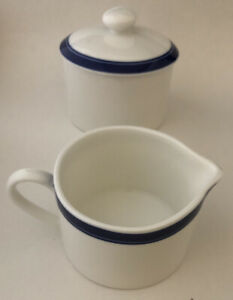 Crate & Barrel Cobalt Blue Rim Edge Cream & Sugar Set Bangladesh White New
