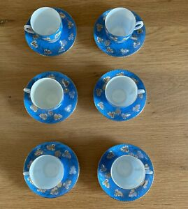 Beautiful Kuznetsov Imperial Russian Porcelain Coffee Cups & Saucers c1900-1913
