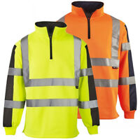 Hi Vis 2 Tone Rugby Shirt Safety High Visibility Sweatshirt Security Jumper Top